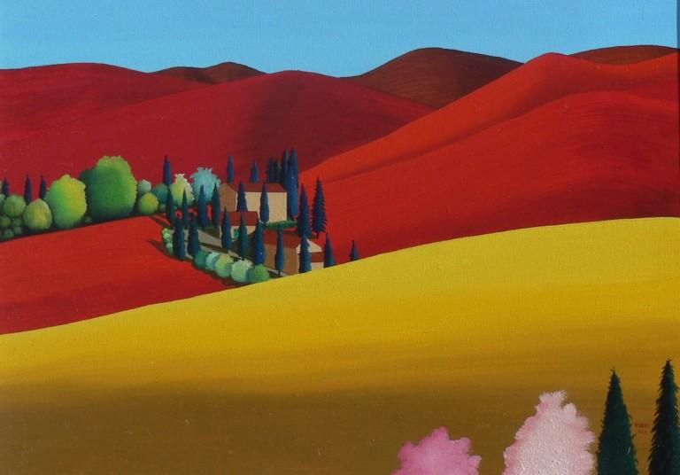6 PAESAGGIO TOSCANO olio su tela cm 50x70